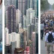 Three photos showing a house engulfed by buildings, tall buildings in a city and the backs of a crowd of people walking in a city.