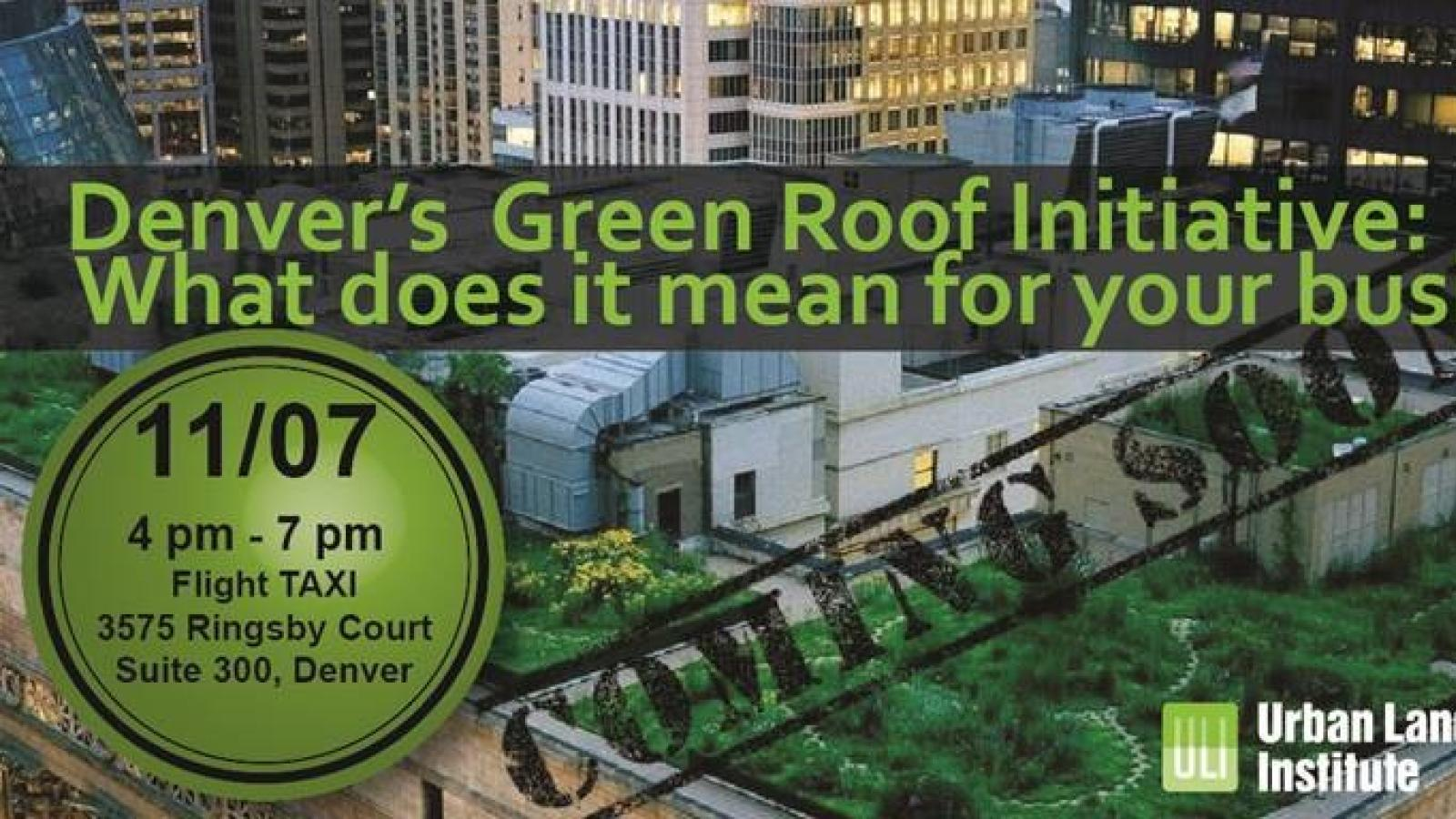Advertisement poster for Green Roof workshop.