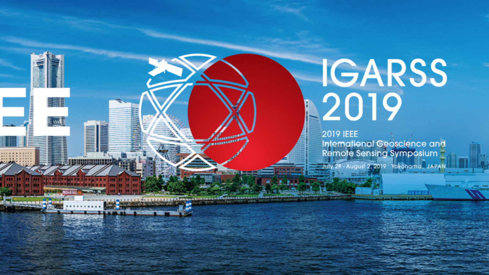 Japanese city with logos on front, part of the IGARSS 2019 in Yokohama, Japan website
