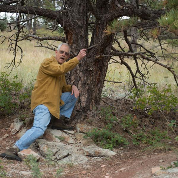 A scientist leans against a tree to discuss his work with students