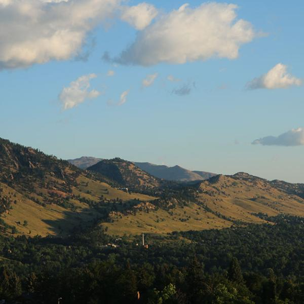 Distant view of Flatirons