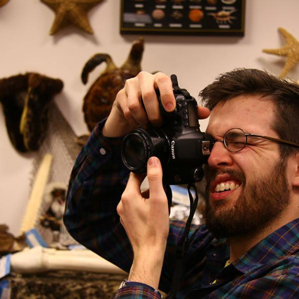 CEJ graduate student Ted Phillips visits the U.S.F.W.S. Wildlife Property Repository.