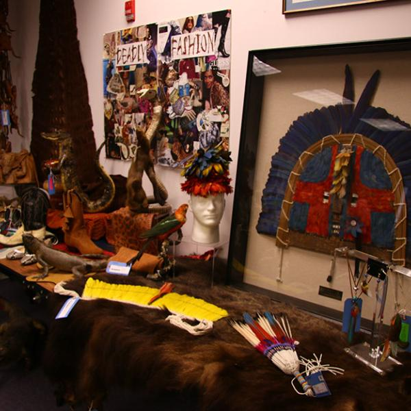A small sampling of some of the products made out of protected wildlife and confiscated by the U.S.F.W.S. and stored at the Wildlife Property Repository.
