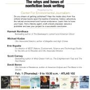 The Author! Author! panel is Thursday, February 1 from 9 to 10:30 a.m. in ATLAS 102.
