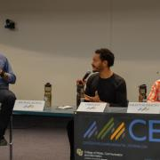 From left, panel moderator and CEJ Deputy Director Michael Kodas, Scripps fellow and Mongabay reporter Chris Lett and Mongabay reporter Taran Volckhausen