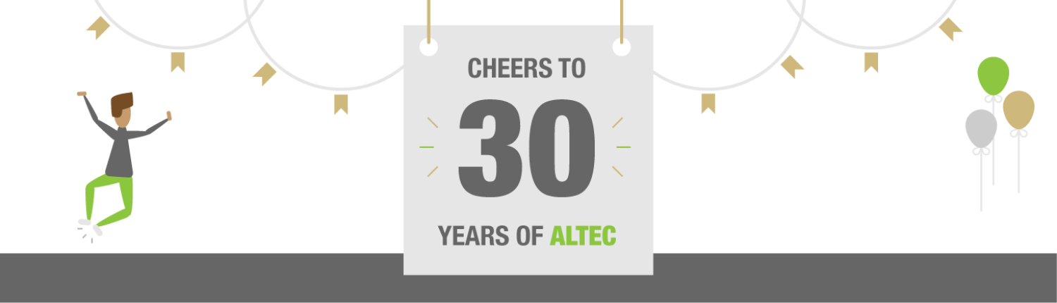 Cheers to 30 Years of ALTEC graphic banner