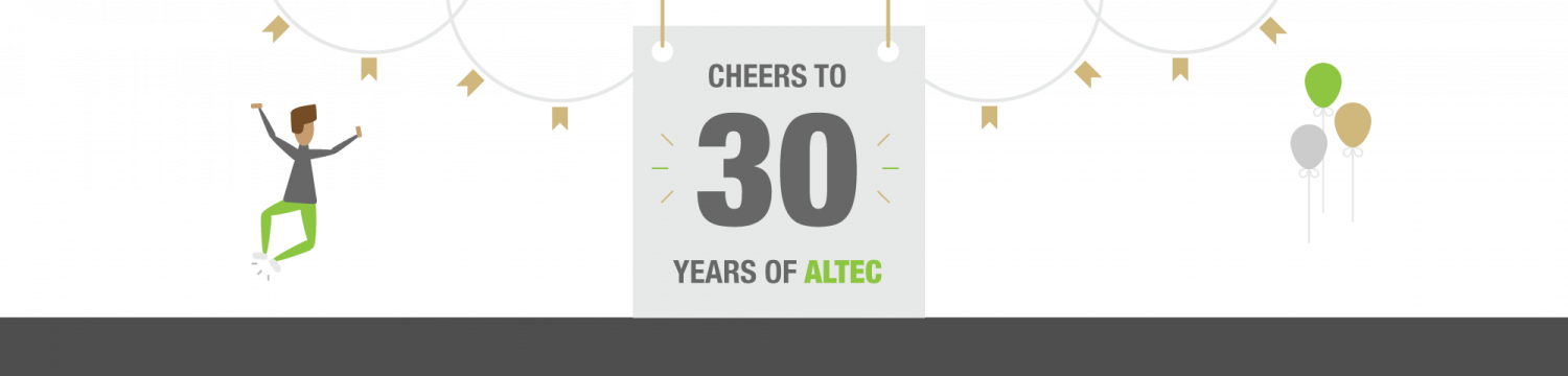 Cheers to 30 Years of ALTEC. Graphic of person celebrating.