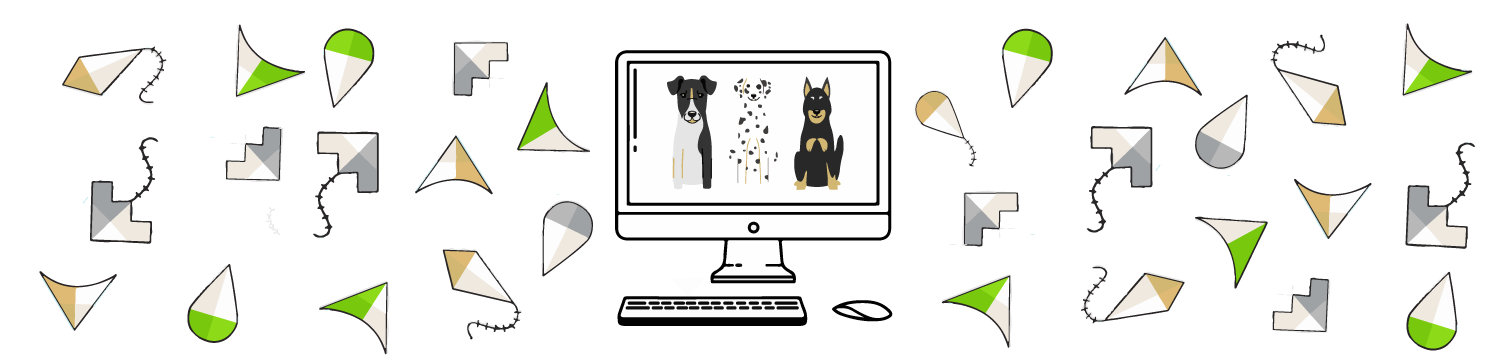 Graphic banner of a computer with drawings of kites and dogs