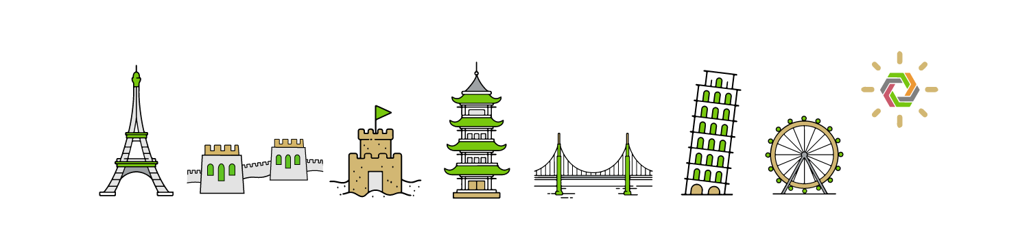 Graphic banner of landmarks from around the world