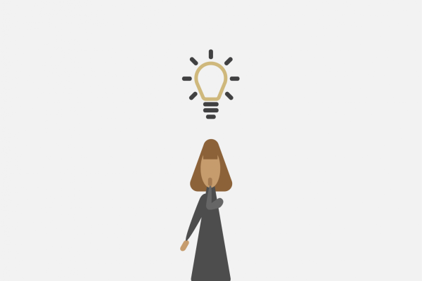 person with light bulb above their head