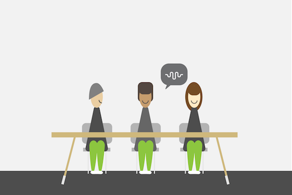 Illustration of Language students sitting at a table