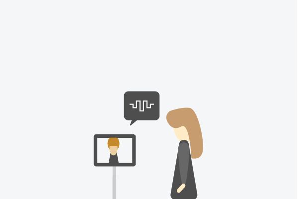 Illustration of someone talking to another language student through a screen