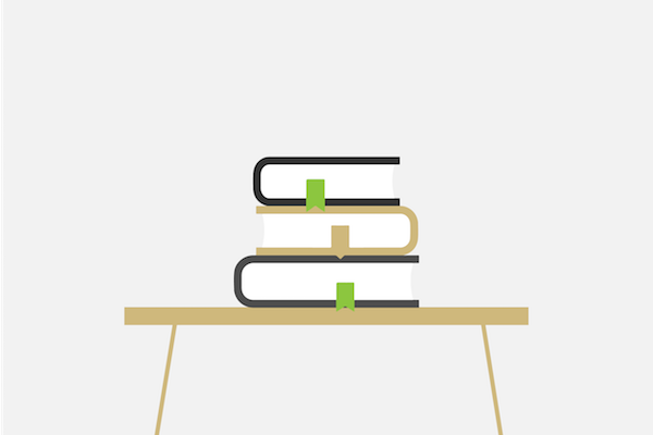 Books sitting on a table
