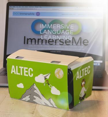 Photo of VR cardboard viewer and ImmerseMe platform