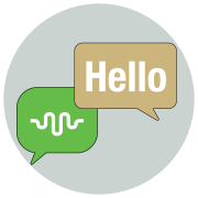 Graphic with conversation icon for ALTEC and Hello in English