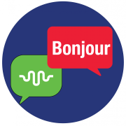 Graphic with conversation icon for ALTEC and Hello in French
