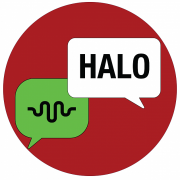 Graphic with conversation icon for ALTEC and Hello in Indonesian