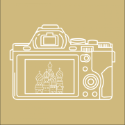 Graphic of a classic photo camera with the Taj Mahal displayed