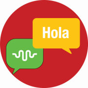 Graphic with conversation icon for ALTEC and Hello in Spanish