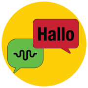 Graphic with conversation icon for ALTEC and Hello in German