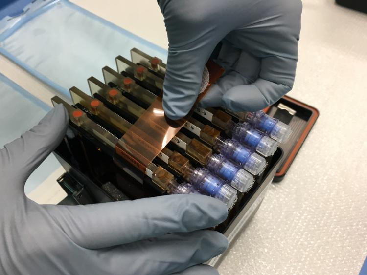 BioCells being packed into a PHAB for flight