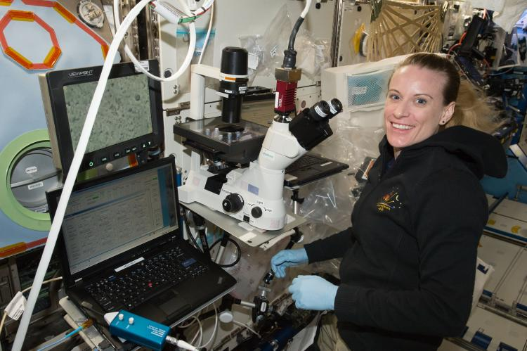 Astronaut Kate Rubins using the BioServe Microscope on ISS