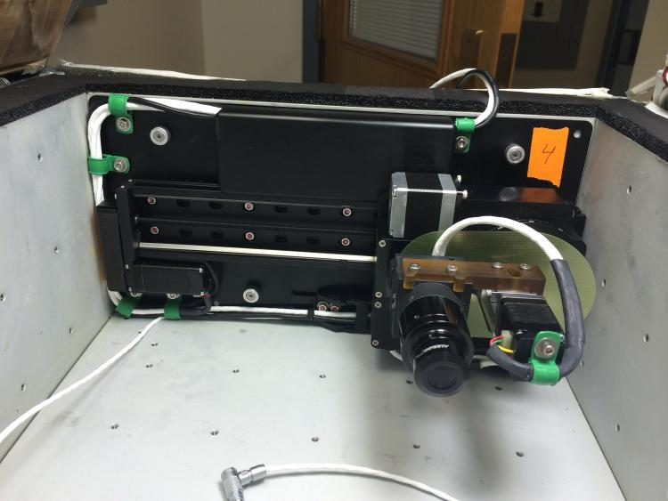 ScanCam installed into CGBA showing the automated translation track and camera head