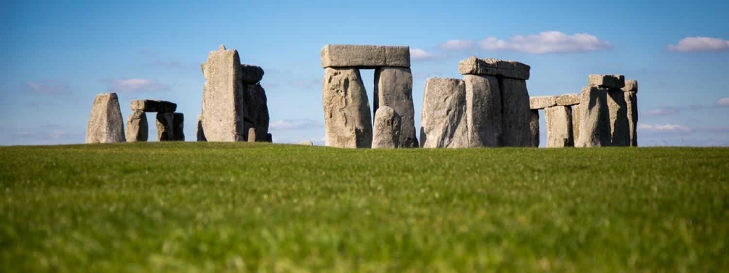 Stonehenge in England on a sunny day.