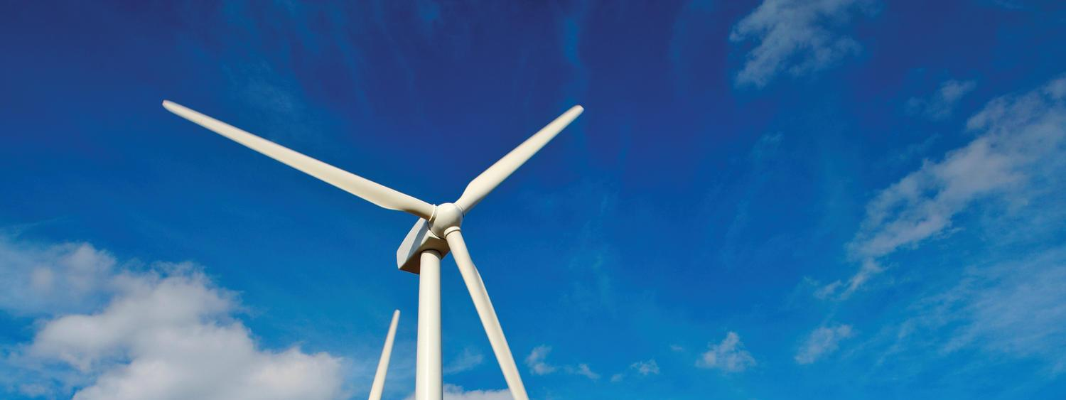 wind turbines, blue sky