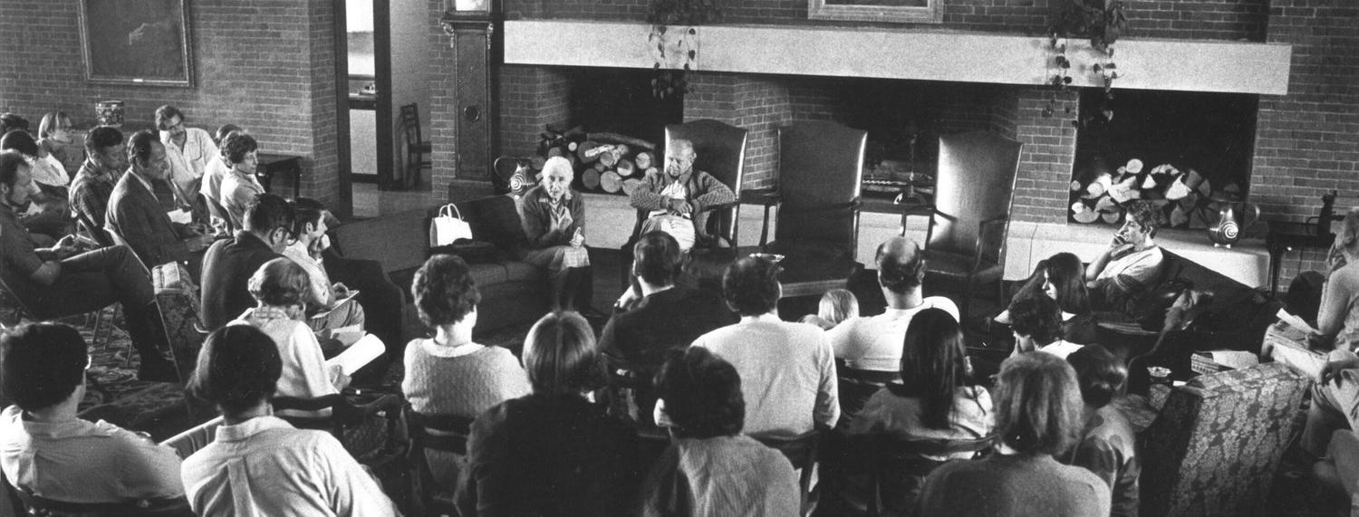 Archival photograph of a Flaherty Seminar session.