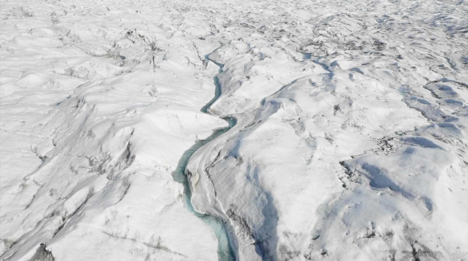 Overhead view of Greenland's ice fjords.