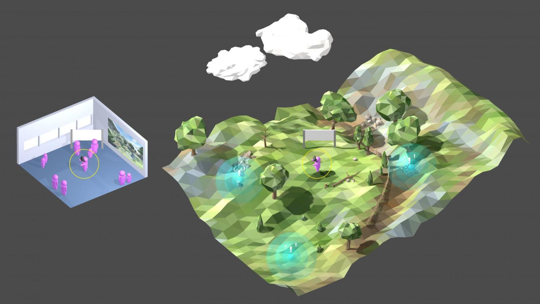A digital mockup of a virtual reality experience in La Sierra.