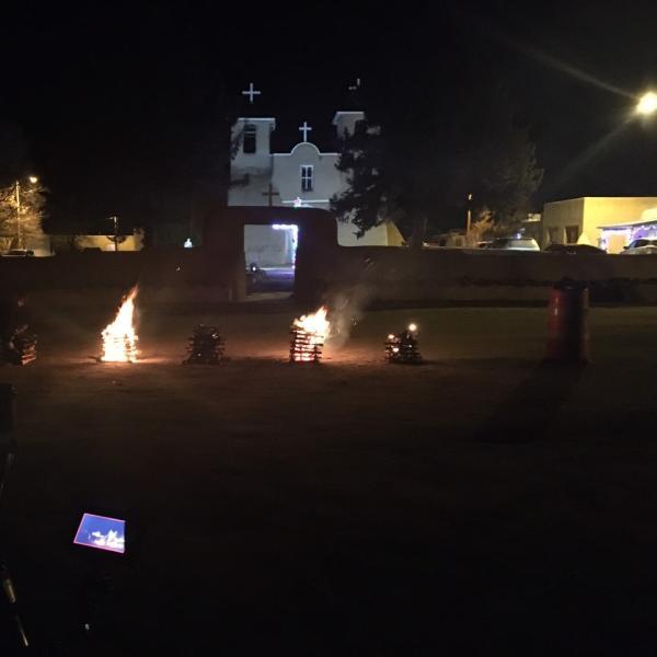 On location (2019) at the San Francisco de Asís Mission Church in Taos during the Christmas Las Posadas celebration.
