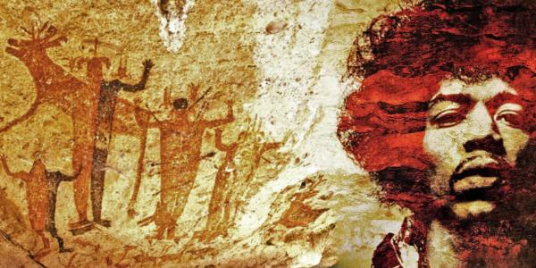 A photo collage of cave paintings with a portrait of Jimi Hendrix.