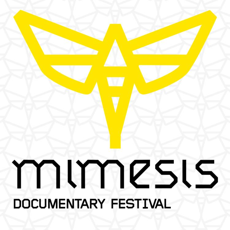 yellow moth on geometric background name drop: Mimesis Documentary Fest