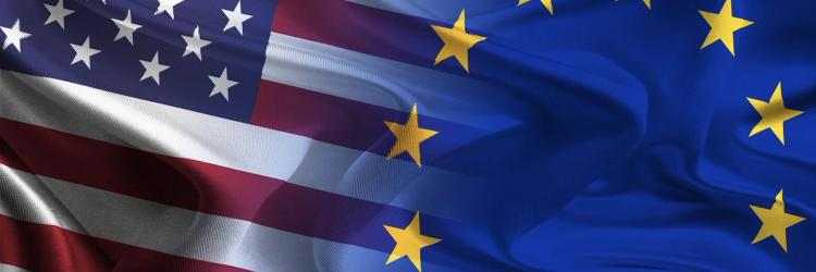 US and EU flags blending from EU Delegation to the US