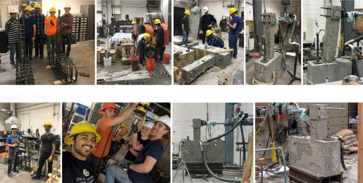 Collage of students working in structures lab