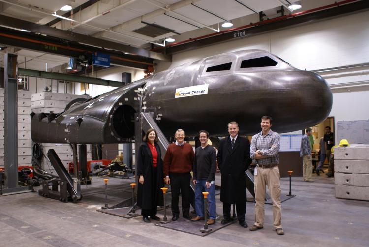 Group photo in front of the Dream Chaser