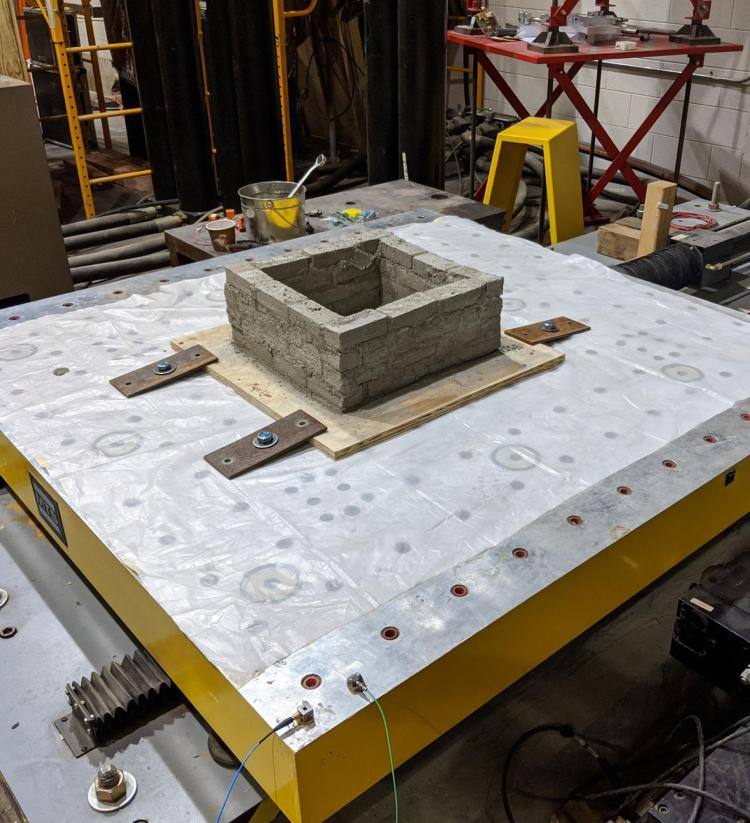 Structure on shake table