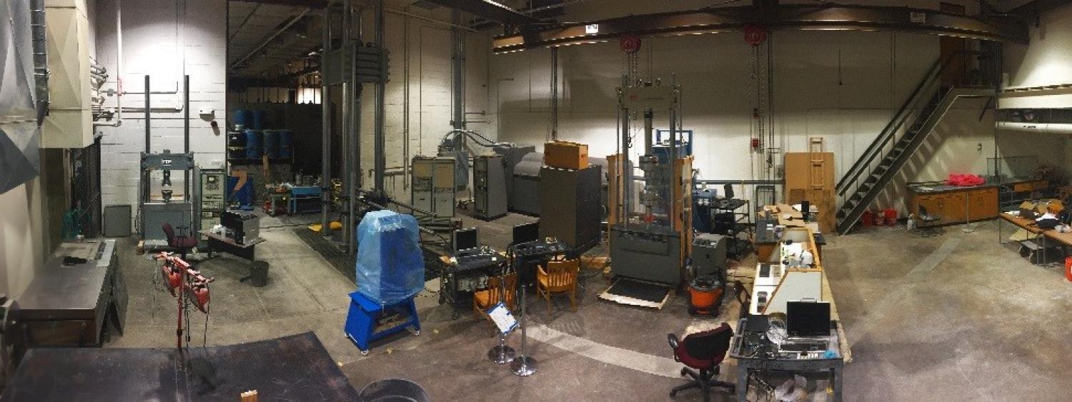 A panoramic view of the materials testing lab.