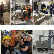 A collage of photos of students working in the structures lab.