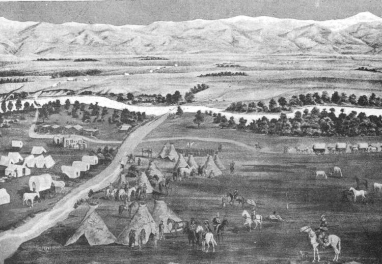 Illustration of an Arapaho camp in Denver CO