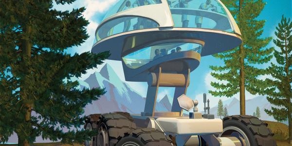 futuristic vehicle in a forest