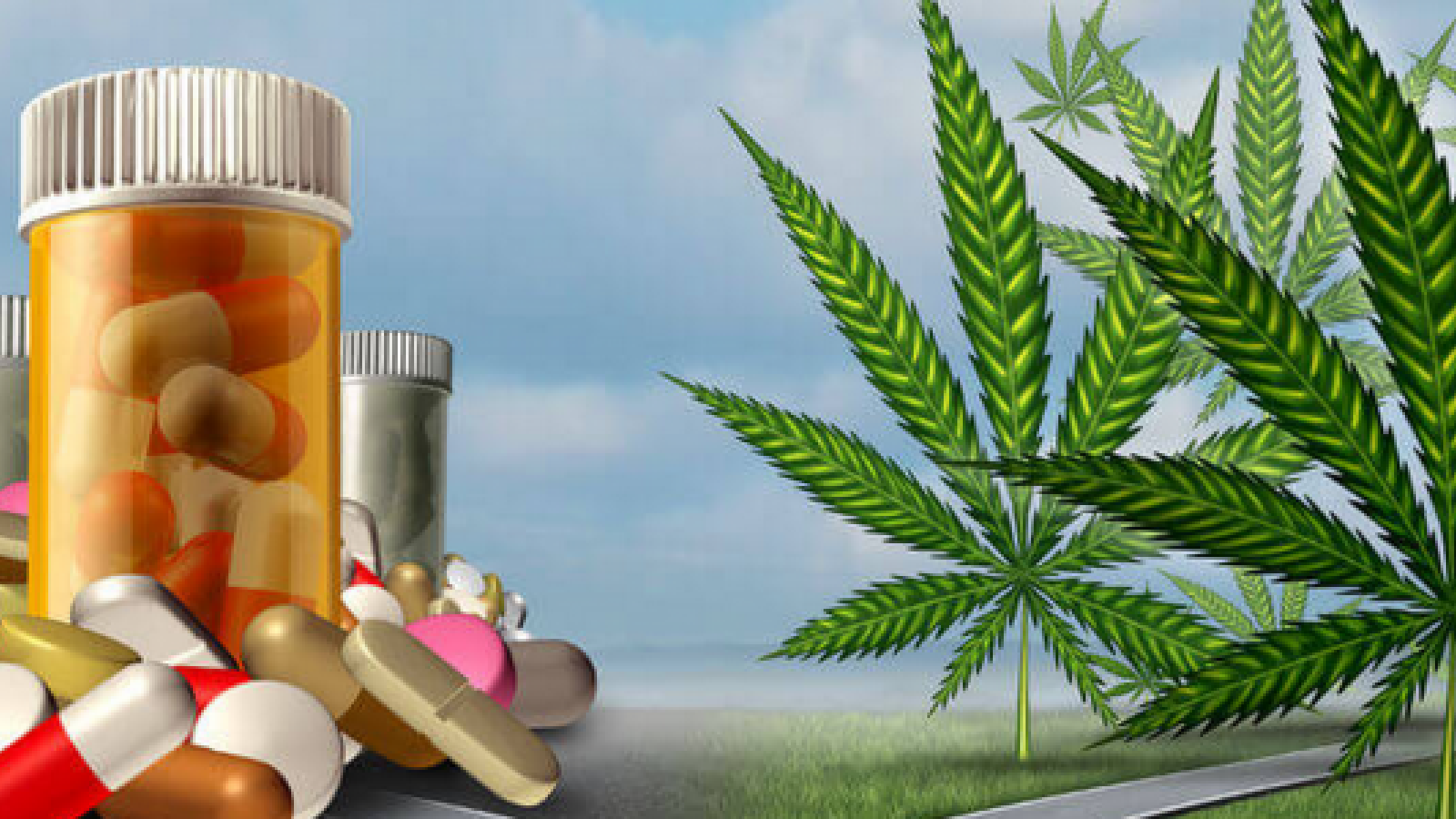Cannabis with pill bottles