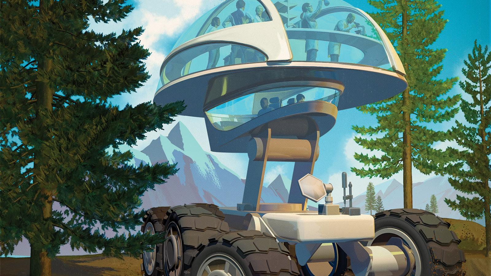 futuristic vehicle in a forest