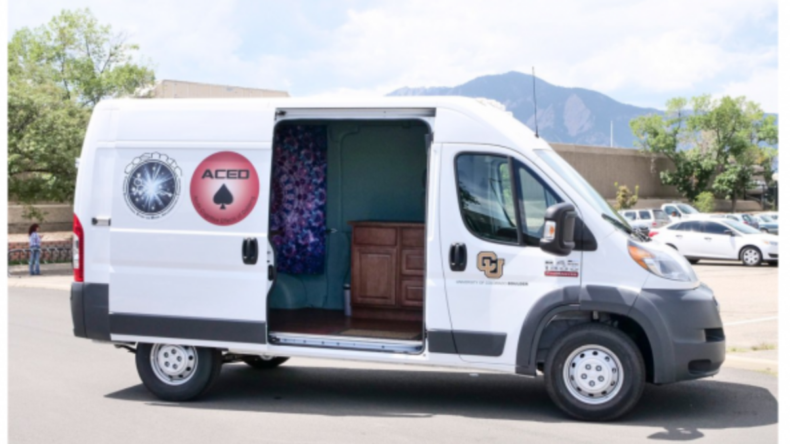 mobile pharmacology lab parked with door open