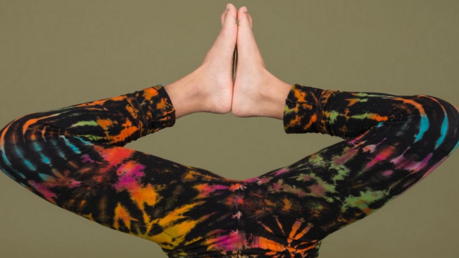 legs upside down in yoga pants
