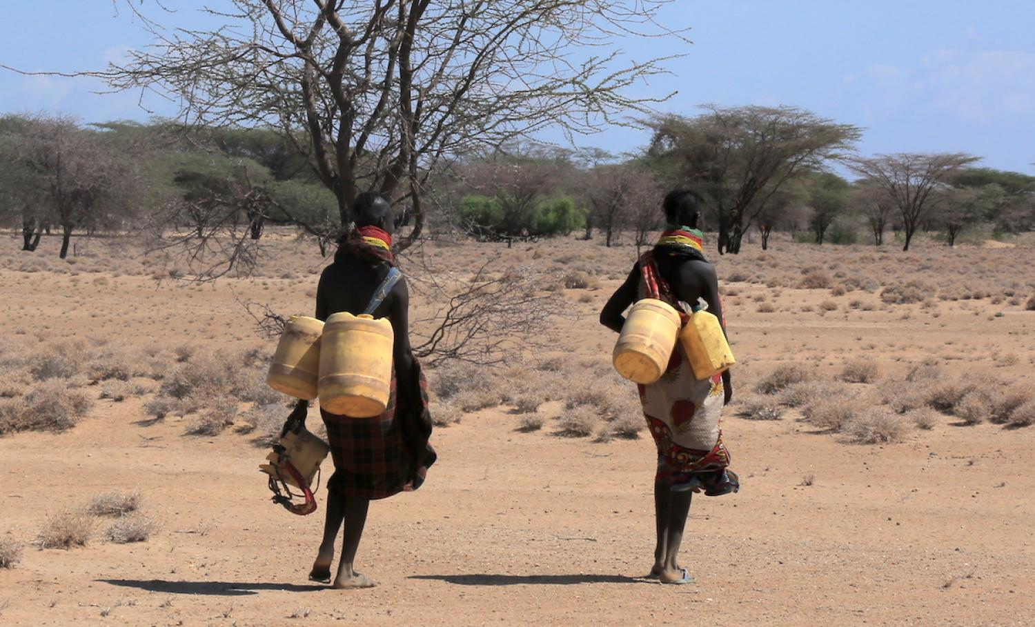Women walking with water