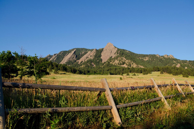 Long shot of the Flatiron mountain range.