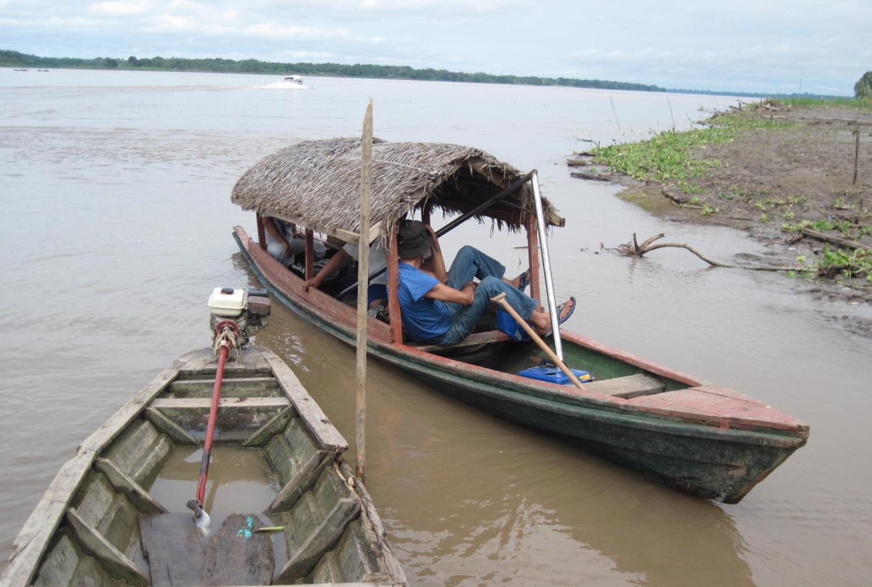 Student in a boat in Peru